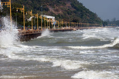 Rolling wave slamming on the coastline . Rolling big wave slamming on the coastline Royalty Free Stock Images