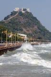 Rolling wave slamming on the coastline . Rolling big wave slamming on the coastline Stock Photo
