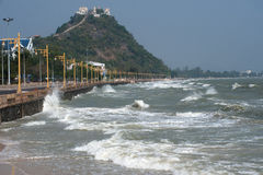 Rolling wave slamming on the coastline . Rolling big wave slamming on the coastline Royalty Free Stock Photos