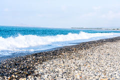 Rolling waves in Mediterranean Sea. Royalty Free Stock Images
