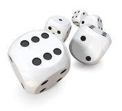 Rolling white dice royalty free stock photo