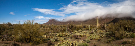 Rolling wolken in de woestijn Royalty-vrije Stock Foto
