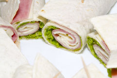 Rollito. Roll ham, cheese and lettuce Stock Image