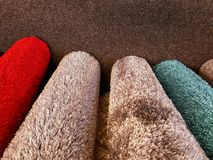 Rolled carpet samples Royalty Free Stock Image