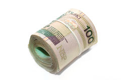Rollled polish banknotes Stock Photos