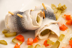 Rollmops herring. Marinated harring with vegetables, in German rollmops style Royalty Free Stock Photography