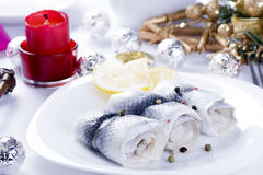 Rollmops with lemon for Christmas Royalty Free Stock Photos