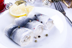 Rollmops with lemon for Christmas Royalty Free Stock Images
