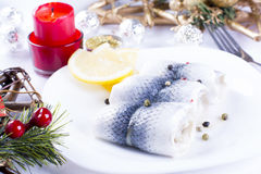 Rollmops with lemon for Christmas Royalty Free Stock Photo