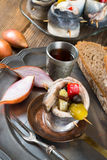 Rollmops - pickled herring fillets Stock Photos
