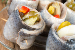 Rollmops - pickled herring fillets Royalty Free Stock Images