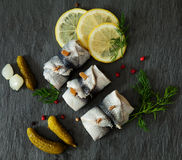 Rollmops - pickled herring fillets Stock Images