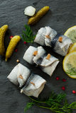 Rollmops - pickled herring fillets Royalty Free Stock Image