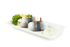 Rollmops on a plate  Royalty Free Stock Images