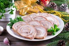 Rollo asado del cerdo Aperitivo del ` s del Año Nuevo Fotos de archivo