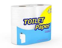 Rollo cuatro del paquete del papel higiénico Foto de archivo