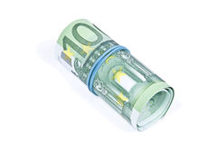 Rollo de billetes de banco euro Imágenes de archivo libres de regalías