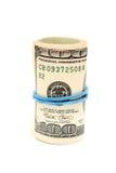 Rollo de cientos billetes de dólar Fotos de archivo