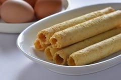 Rollo de huevo de la galleta Imagen de archivo libre de regalías