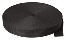 Rollo de la cinta negra del algodón aislada en blanco imagen de archivo