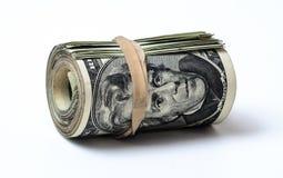 rollo de la moneda de los 20 E.E.U.U. de los billetes de dólar Imagen de archivo
