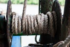 Rollo de las cuerdas de la nave Fotografía de archivo libre de regalías