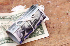 Rollo de los billetes de dólar Imagen de archivo libre de regalías