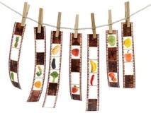 Rollo de película con las frutas imágenes de archivo libres de regalías