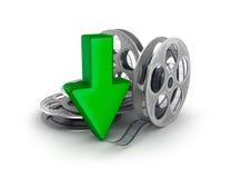 Rollo de película y flecha. Icono de la transferencia directa. stock de ilustración