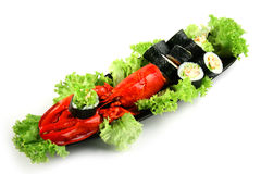 Rollo de sushi con el cangrejo Foto de archivo libre de regalías