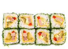 Rollo de sushi con verdes Foto de archivo libre de regalías