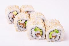 Rollo de sushi de la anguila Imagen de archivo libre de regalías