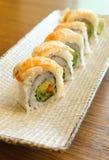 Rollo de sushi de la gamba Imagen de archivo