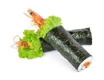 Rollo de sushi del Tempura del camarón Imagenes de archivo