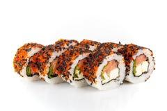 Rollo de sushi en el fondo blanco Imagen de archivo