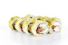Rollo de sushi en el fondo blanco Fotografía de archivo libre de regalías