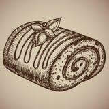 Rollo del chocolate del grabado Pasteles hechos en casa deliciosos en el estilo del bosquejo Ilustración del vector EPS Foto de archivo libre de regalías