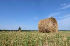 Rollo del heno en el campo Fotos de archivo
