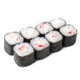Rollo del japonés con el cangrejo de la nieve aislado en el fondo blanco con s Imágenes de archivo libres de regalías