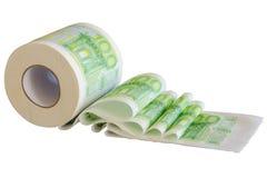 Rollo del papel higiénico con los billetes de banco de la moneda de la unión europea Foto de archivo libre de regalías