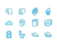 Rollo del papel higiénico, línea plana iconos de la toalla Los ejemplos de la higiene, wc móvil, lavabo, árbol acodaron la servil ilustración del vector