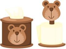 Rollo del papel seda en la caja linda del oso Imágenes de archivo libres de regalías