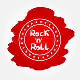 Rollo del rock n del texto en marco circular con las estrellas Imagenes de archivo