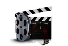 Rollo del rollo de película con clapperboard Imagen de archivo libre de regalías