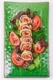Rollo frito de los salmones Fotografía de archivo libre de regalías