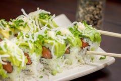 Rollo japonés del aguacate de la comida Imagen de archivo libre de regalías