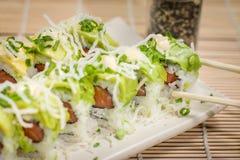 Rollo japonés del aguacate de la comida Fotografía de archivo