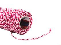 Rollo rojo y blanco de la cuerda de la pana Fotos de archivo