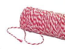 Rollo rojo y blanco de la cuerda de la pana Imagen de archivo libre de regalías