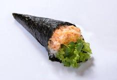 Rollo Temaki de la mano de la ensalada de la langosta Foto de archivo